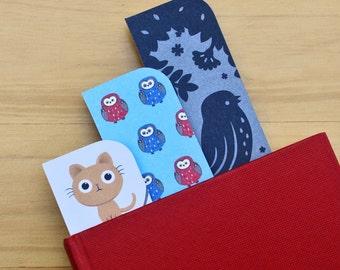 Bookmark set (3) - cats, owls, birds