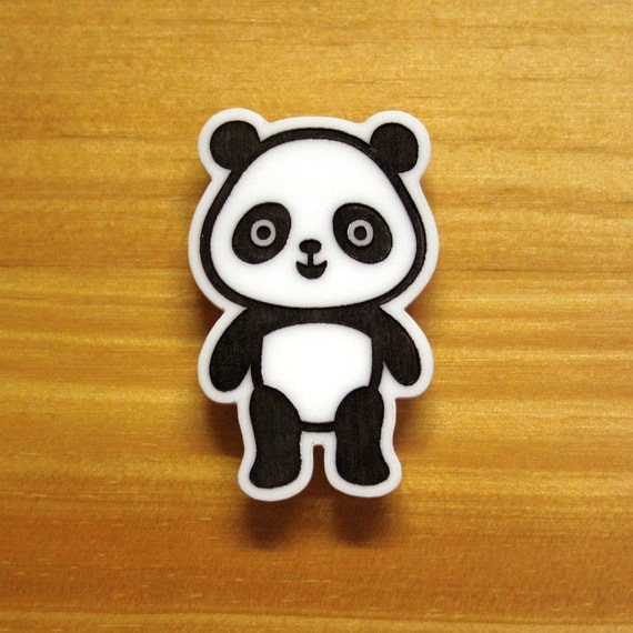 Laser Cut Etched Acrylic Brooch Panda Cute Black and White