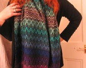 Thick hand-dyed, hand-woven Mexican folk art pashmina