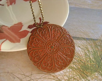 Rustic Orange focal pendant necklace