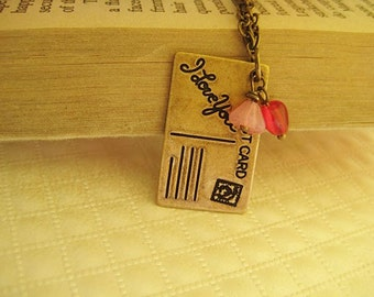 I love you post card romantic necklace