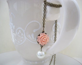 peach rose pearl necklace