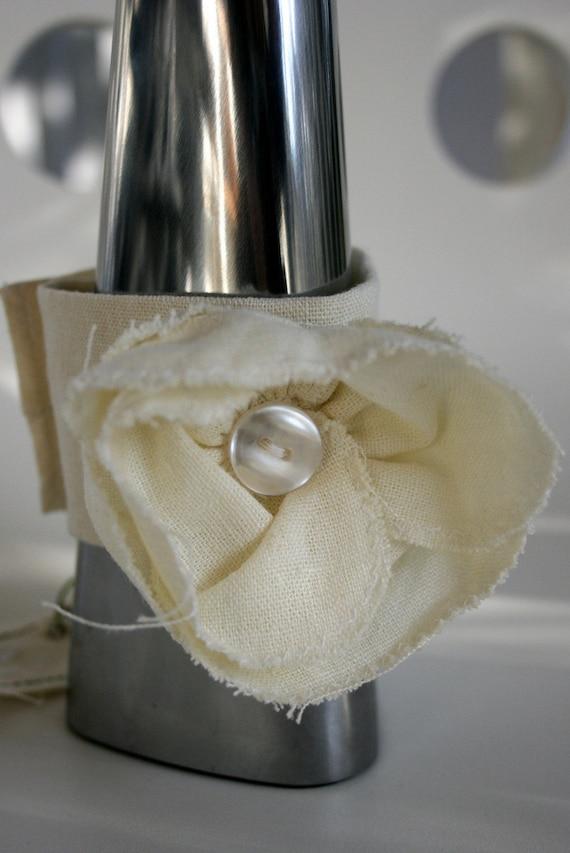 White Linen Flower Bracelet
