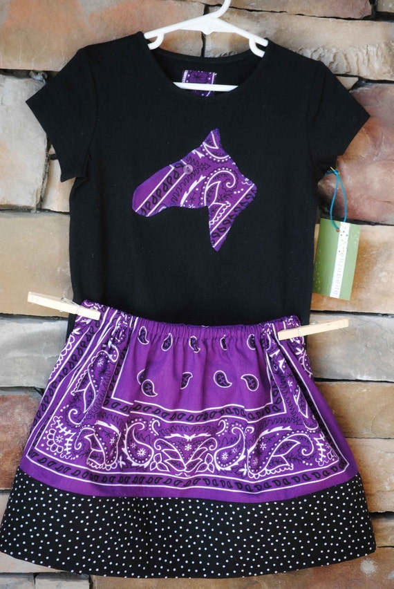 WESTERN Purple Bandana Skirt Set Custom Size with Horse Head or Cowboy Boot Applique Black Shirt for Cowgirl