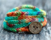 Rustic I Cord Wrap Bracelet - Button Closure - Hand Dyed Wool Yarn