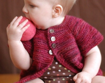 PDF Knitting Pattern - Mira Sweater - Baby Cardigan - Girls Sizes Newborn, 6 months, 12 months, 2/4/6 years
