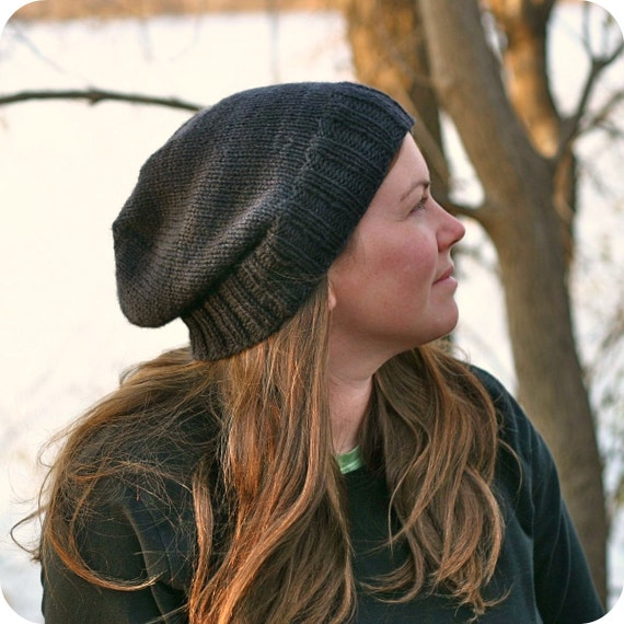 Slouch Hat Knitting Pattern : Knitting Pattern Kendall Slouchy Beanie Hipster Knit Hat