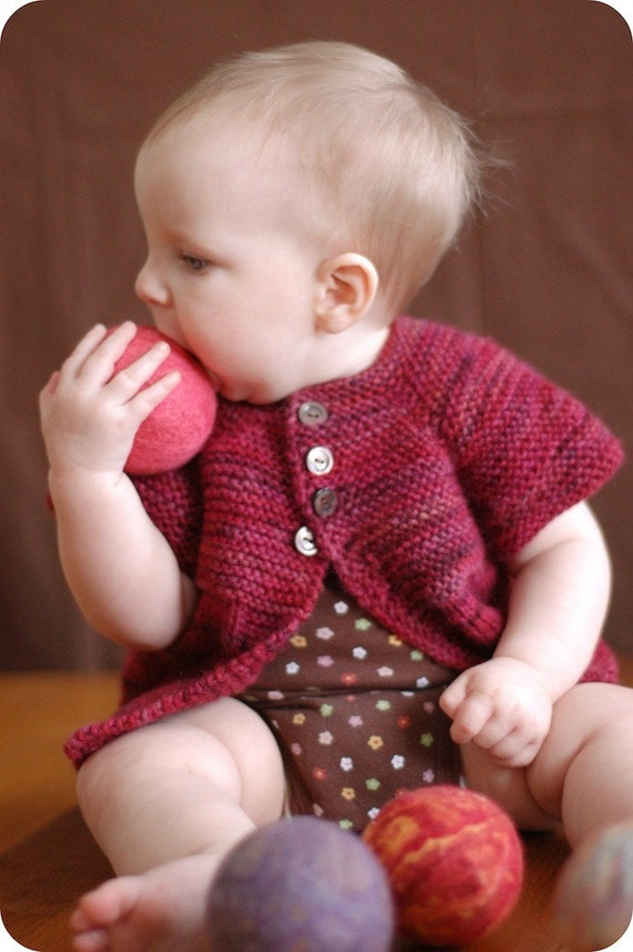 PDF Knitting Pattern - Mira Sweater - Baby Cardigan - Girls Sizes Newborn, 6 months, 12 months, 2/4/6 years
