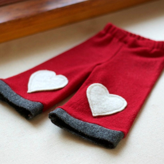 Upcycled Wool Longies - Red with Heart Knee Patches - 0 to 6 months