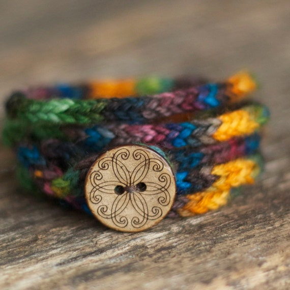 Aurora Wrap Bracelet - Rustic I Cord - Wooden Button - Merino Wool