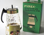 Vintage Pyrex Coffee Carafe with Candle Warmer - New in Box