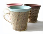 Vintage Raffiaware Mugs - Set of Three in Aqua, Pink and Mocha