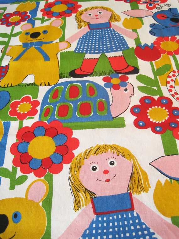 Vintage Cotton Fabric - Mid-Weight for Child's Room (Red, Green, Blue)  -  By the Yard