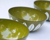 Three Cathrineholm Avocado Green Bowls