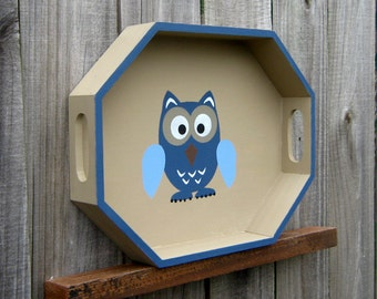 Owl Tray, Decorative Tray, Painted Wood, Woodland Owl, Mantel Decor, Shelf Sitter, Home Decor, Octagon Tray, Country Tan, Blue Owl