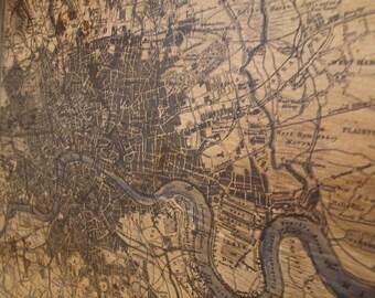 PLAN of LONDON - Vintage Map - 36x42 - Home Decor - Handmade - RuPiper Designs Original