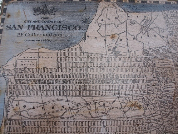 Vintage san francisco map 30x36 salvaged wood by Salvaged wood san francisco