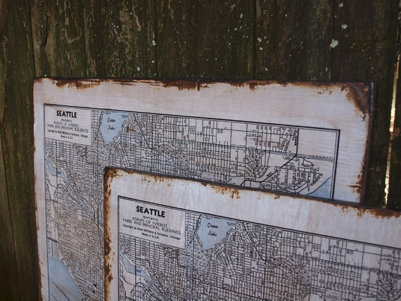 VINTAGE SEATTLE MAP - 30x36 -Salvaged Wood - Handmade - Home Decor - RuPiper Designs Original