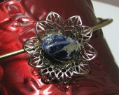 Royal Blue Dumortierite on Vintage Petal Brooch