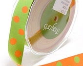 Green and Orange Reversible Dots Woven Ribbon- 2 yards (pre order)