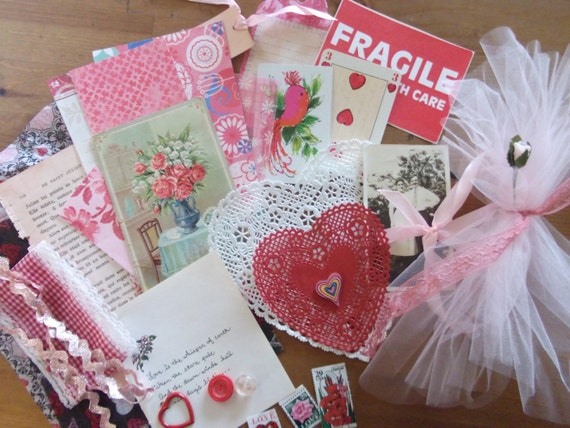 Vintage Pink and Red Bits Perfect for Collage, Mixed Media and Altered Art