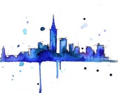 Watercolor Travel Illustration - Midnight in a Perfect NY print