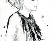 Watercolor Fashion Illustration - Chanel Haute Couture print