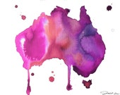 Watercolor Australia Map - Australian Dreams No. 2 print