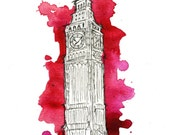 Watercolor and Pen Big Ben Travel Illustration - Let's Get out of this Country print