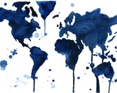 Watercolor World Map- It's  a Blue Blue World