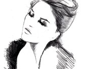 Doodles from my Sketchbook, Charcoal study of woman, Jessica Durrant - Print of untitled charcoal drawing