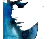 Print from original watercolor fashion illustration by Jessica Durrant titled Black and Blue for You