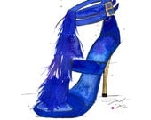 Original watercolor and pen fashion illustration by Jessica Durrant - Fringe of Blue