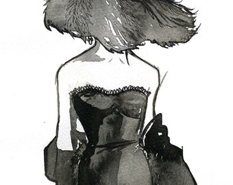Watercolor Fashion Illustration: Dior Dame print
