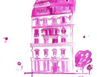 Watercolor Travel Illustration - XoXo Paris print