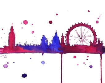 Watercolor Travel Illustration - London Baby print