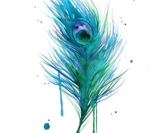 Watercolor Teal Peacock Painting print version