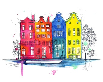 Watercolor and Pen Travel Amsterdam Illustration - Iamsterdam print