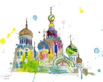 Watercolor Travel Russia Illustration, Jessica Durrant - A Little Slice of Russia print version
