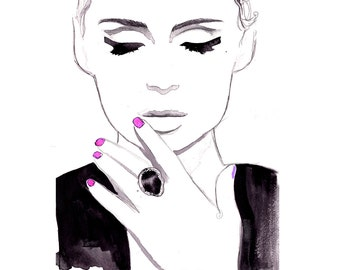 Print from original watercolor and pen fashion illustration by Jessica Durrant titled Midnight City