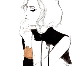 Print from original watercolor and pen fashion illustration by Jessica Durrant titled The Golden Cuff