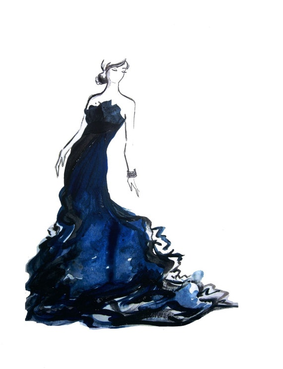 Watercolor fashion illustration black and blue print