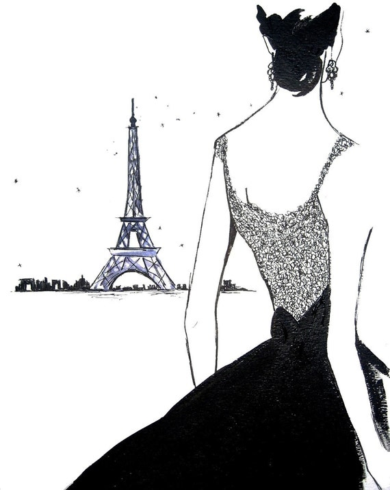 Watercolor Fashion Illustration: J'adore Paris print