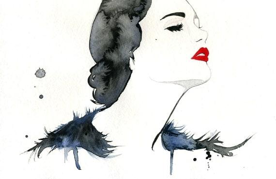 Watercolor Fashion Illustration - Girl Gone Gatsby print