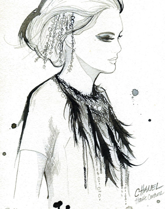 Watercolor Fashion Illustration - Chanel Haute Couture print