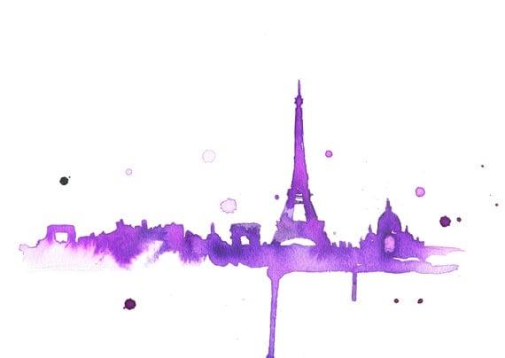 Watercolor Travel Illustration - A Purple Paris print