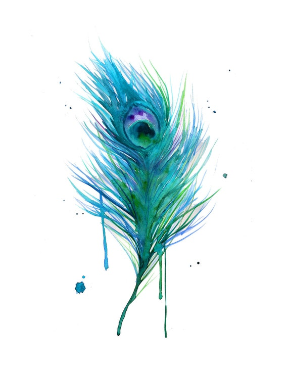 Watercolor Teal Peacock Painting print version