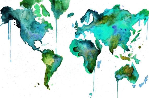 "Watercolor World Map No. 6 - Enlarged 16 x 20"" print"