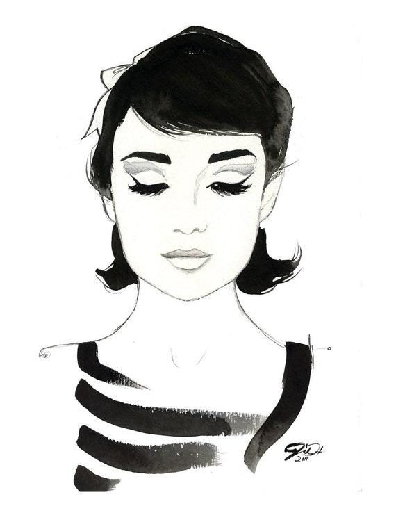 Watercolor Fashion Illustration -Audrey Always print