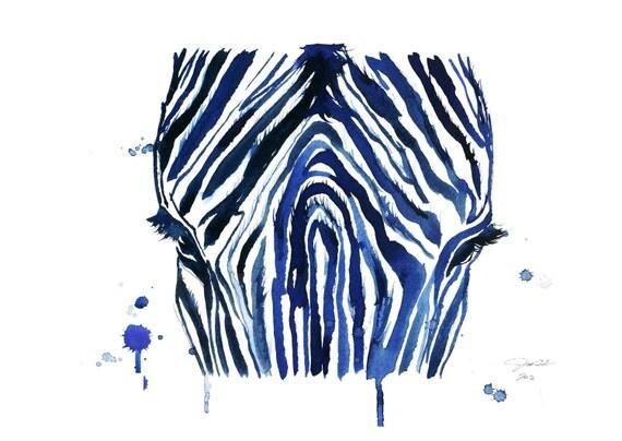 Watercolor Print - The Blue Zebra